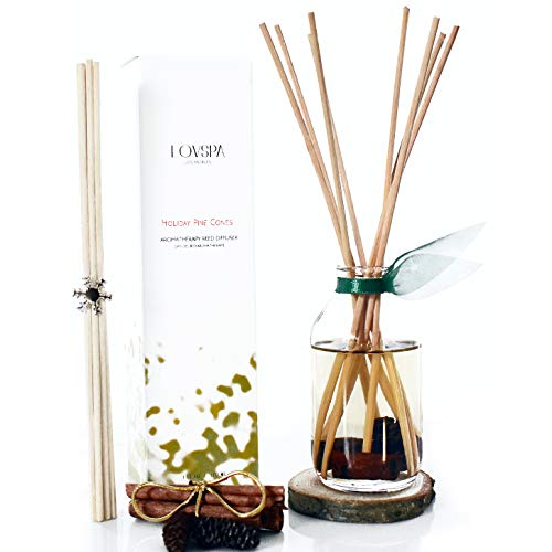 LOVSPA Cinnamon Pinecones Reed Diffuser Oil Gift Set | Woody Pine Cones, Woods, Fir Needles, Cinnamon, Clove & Sandalwood | Festive Scented Air Freshener & Home Decor