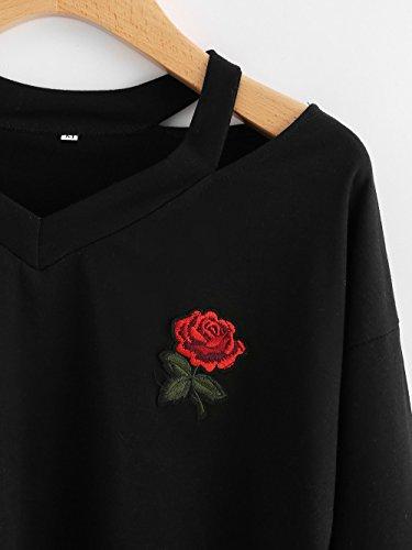 Taille Femme Femme et Grande Tee Col Couleur Longue Noir Tops Blouses Femme Solide Blouse Chemisiers Manche Weant Blouse Shirt Shirt Casual U Chemise aTqxw11In