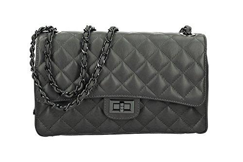 Bolsa mujer de hombro acolchado PIERRE CARDIN gris en cuero Made in Italy VN2667