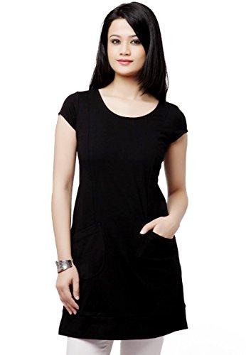 1545 Designs Mujer Más el tamaño Negro Dos bolsillo superior Negro