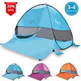 Cheryu Pop Up Beach Tent,Portable Outdoor Cabana 3-4 Person Camping Sun Shelter Fishing Anti UV Automatic Instant Beach Umbrella Beach Shelter,Easy to Set up and Carry, 78.7″x 64.9″x 51.2″