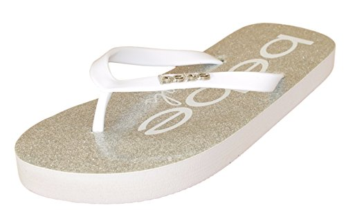 Price comparison product image 'Bebe Girls\' Large Logo and Glitter Footbed White Thong Sandal,  Size 13-1'