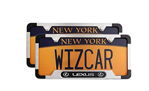 WizCar 2 Pack Luxury Polished Stainless Steel License Plate Frame for Lexus