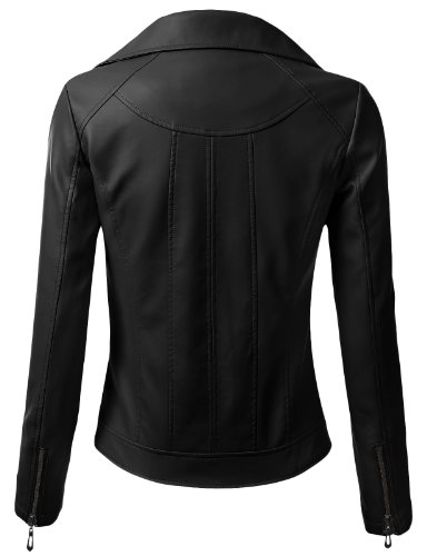 J.TOMSON Womens Faux Leather Rider Motorcycle Jacket