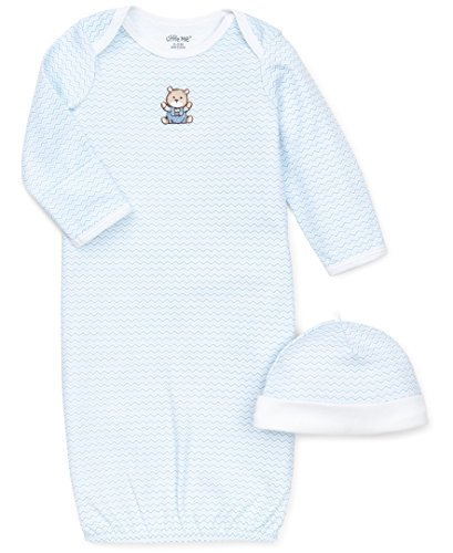 Little Me Boys' 2-Piece Gown & Hat Set, Chevron Bear, 0-3 Months (Set Gown 3 Piece)