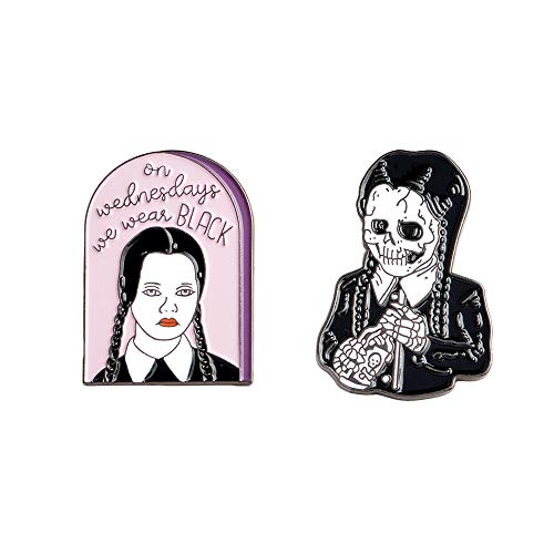 EOMOCO Wednesday Adams Family Enamel Lapel pin Set,on
