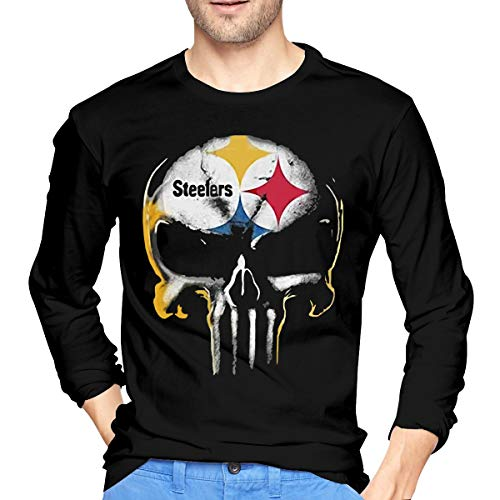(WEFGWR Skull Pittsburgh Steelers Mens O-Neck T-Shirt Funny Cool Long Sleeve Tee Black)