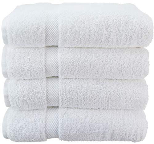 Wealuxe Cotton Bath Towels – Soft and Absorbent Hotel Towel – 27×52 Inch – 4 Pack – White
