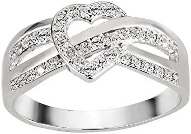 Iced Infinity Heart Knot Cubic Zirconia Ring Sterling Silver 925 (Sizes 4-13)