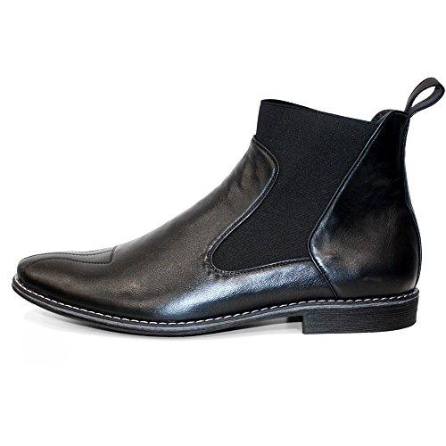 PeppeShoes Modello Pene - Handgemachtes Italienisch Leder Herren Schwarz Stiefeletten Chelsea Stiefel - Rindsleder Weiches Leder - Schlüpfen