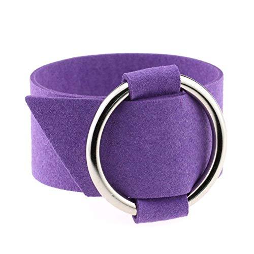 - Wide Black Velvet Leather Bracelets Multicolor Metal Silver Big Circle Wrap Bracelet Wristband Jewelry 4