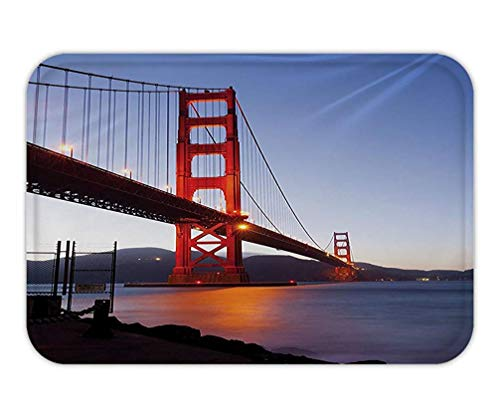 (Usvbzd Doormat Wall Art Decor Golden Gate Bridge in San Francisco Art Work for HomeLiving Room Bedroom Dorm Decor One of a Kind Machine Washable with Silky Satin Blue Red Navy Orange.jpg)