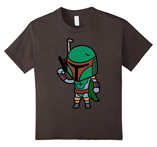 Kids Star Wars Boba Fett Cute Cartoon Style Graphic T-Shirt 6 Asphalt