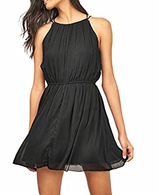 ZZER Women Casual Sleeveless Skater Chiffon Bandage Cocktail Party Dress