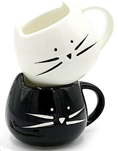 2 Pack Cute Cat Coffee Mugs for Crazy Cat Lovers Christmas Gift Cat Ceramic Cups, Black and White