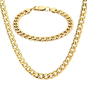 SAKAIPA 316 Stainless Steel Necklace Chain for Men Women Rope Chain Necklace Cuban Link Figaro Chain Link,Silver Gold