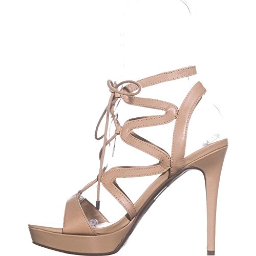 Guess Medium Leather Strappy Leather Open Aurela Womens Casual Sandals Toe Natural rWqv8rwPT