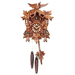 Original One Day Movement Cuckoo Clock with Owls and Birds 11.5 Inch