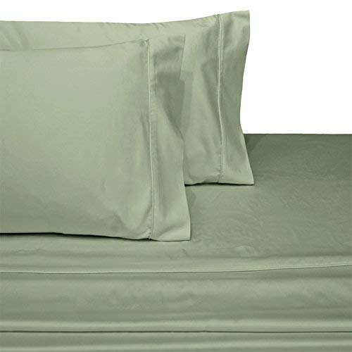 (SL SUPREME LINEN Split Top King (Adjustable, Flex Top King Size) 100% Cotton, Solid Sage, 800 Thread Count, Sateen Weave, 18 inch Deep Pocket Bed Sheet Set)