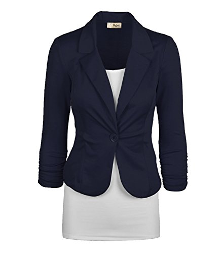 Women's Casual Work Office Blazer Jacket JK1131 NAVY M