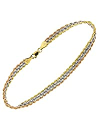 "10K Yellow+White+Rose Gold Triple Strand Rope Chain Ladies Fancy Bracelet with Lobster Clasp- 7.5"" Inch's"