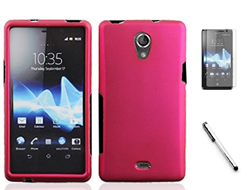 Bundle Accessory for AT&T Sony Ericsson Xperia TL LT30at - Hard Case Protective Cover + Lf Stylus Pen + Lf Screen Protector (Hard Pink)