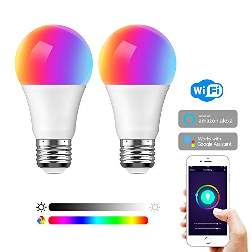 Smart A19 LED Light Bulb, Dimmable E26 and Multi-Color, Works with Alexa Google Home and IFTTT, No Hub Required, 75W Equivalent (7.5W) 2 Pack