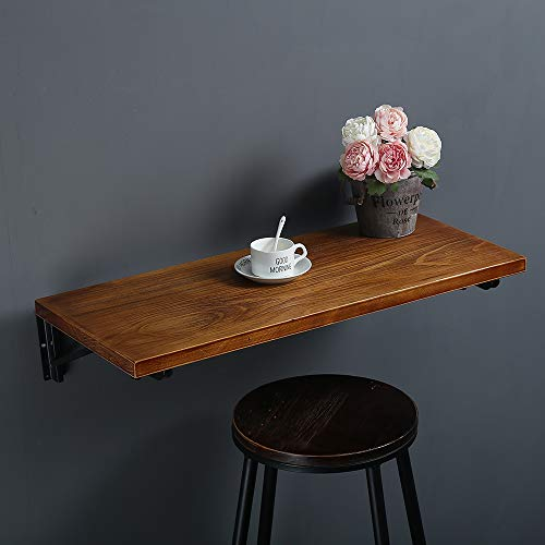 Pine Drop Leaf - Industrial Rustic Folding Wall Mounted Workbench Drop Leaf Table, Dining Table Desk, Pine Wood Wall Mounted Bar Tables,Workbench,Study Table,Collapsible Butcher Block Solid Wood Table(W40 X D16)