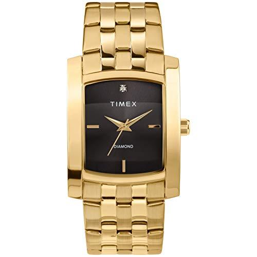 Timex Men's Dress Analog 33mm Stainless Steel Bracelet Watch with Genuine Diamond Analog Gold Tone Wrist Watch