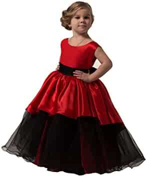 da156cb8 Banfvting Graduation Gown Children Red and Black Floor Length Flower Girl  Dresses Sleeveless With Sash