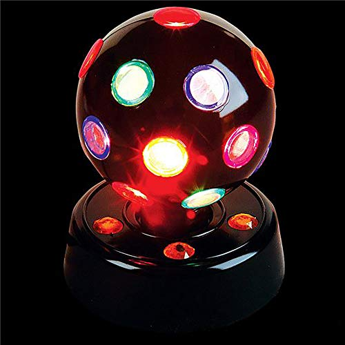 Rotating Disco Ball (Kicko 7 Inch Disco Light - LED Multi-colored Revolving Lighting Ball - Perfect for Home and Party Decorations, Stage Lights, Rave, School Festivals, Stress)