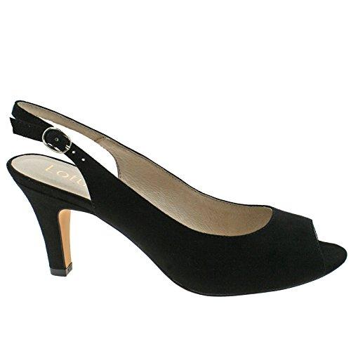 Lotus Ladies Sommer Black Microfibre Sling Back Low Heeled Peep Toe Shoes -UK 7 (EU 41)