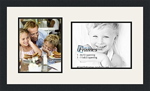 ArtToFrames Double-Multimat-103-61/89-FRBW26079 Collage Photo Frame Double Mat with 1-8.5x11^ 8x10 Openings and Satin Black Frame, Super White, 1-8.5x11^ 8x10