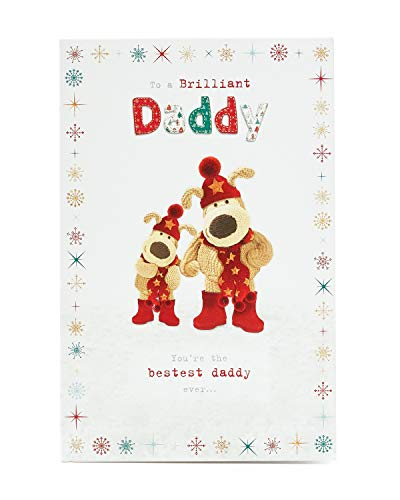 Daddy Christmas Card- Cute Boofle Christmas Card for Daddy- Cute Dog Christmas Card to Send from Kids- Gift Card for Him- Boofle Christmas Gifts (Christmas Card Daddy)