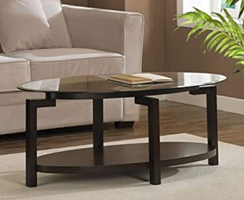 Tanner Espresso Wood Coffee Table With Glass Top And Shelf