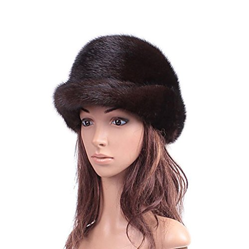 UK.GREIFF Women's Fashion Warm Stretch Mink Fur Fedoras Cap Winter Hat Black by UK.GREIFF
