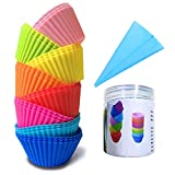 Lasten Silicone Cupcake Liners with Pastry Bag and Storage Tank as Bonuses, Reusable