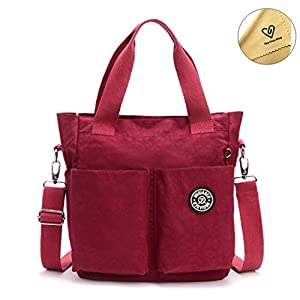 Tiny Chou Water Resistant Nylon Tote Style Handbag Cross body Bag Lightweight Mommy Bag-Purplish Red
