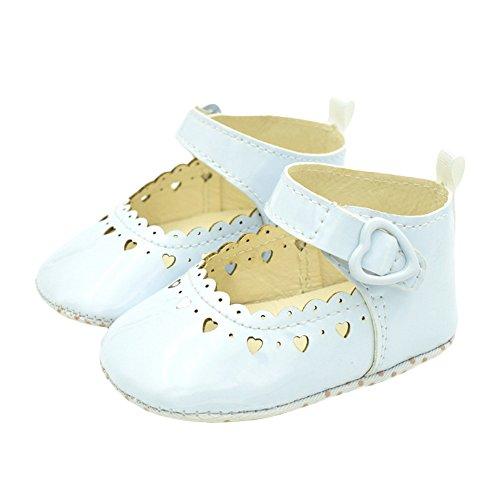 timeracing Infant Toddler bebé suave única prewalker cuna zapatos blanco blanco Talla:6-12 meses blanco