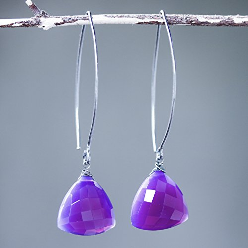 - Triangular purple chalcedony earrings with silver wire wrapped on sterling silver marquise ear wires
