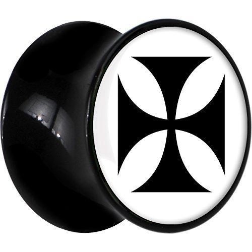Negro Acrílico Blanco Negro Cruz De Hierro Dilatador Par 7mm: Amazon.es: Joyería