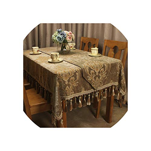 Brown Classic Tablecloth Jacquard Vintage Table Cloth with Handmade Tassels Royal Vintage Table Covers,Tablecloth 130x180CM