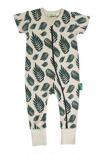 Parade Organics Signature Print '2-Way' Zip Romper - Short Sleeve Green Leaves 0-3 Months