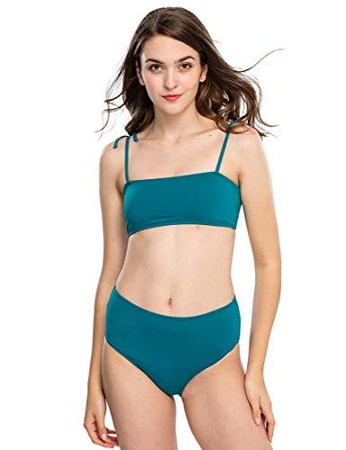 Mapletina Bikini Swimwear for Women, Spaghetti Strap Highwaisted Bottom Traingle Bathing Suits (S, Great Lake Blue)