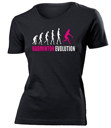 BADMINTON EVOLUTION mujer camiseta Tamaño S to XXL varios colores Negro / Rosa