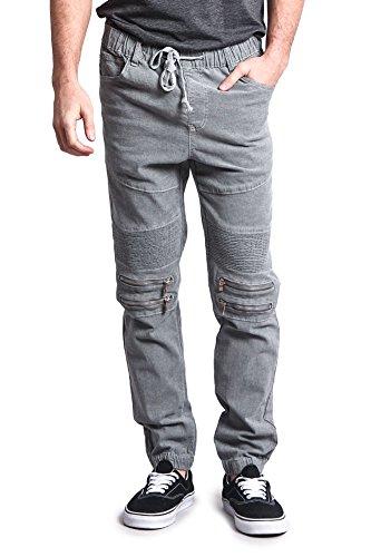 Victorious Zipper Knee Biker Twill Jogger Pants JG883 - Textured Grey - Small - -