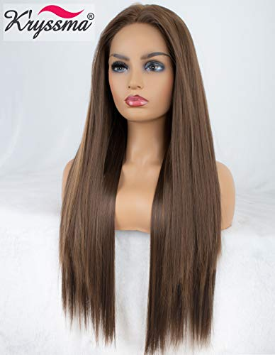 K'ryssma Brown Lace Front Wigs with Highlights Long Silk Straight Synthetic Wig for Black Women Heat Resistant 24 Inches -
