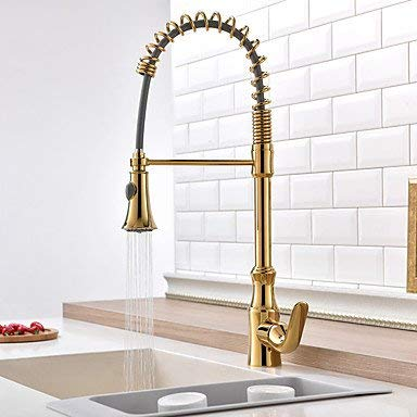 Wghz Golden Pull-Out/Pull-Down Kitchen Faucet Standard Spout Thermostatic Rain Shower Pullout Spray Kitchen Mixer