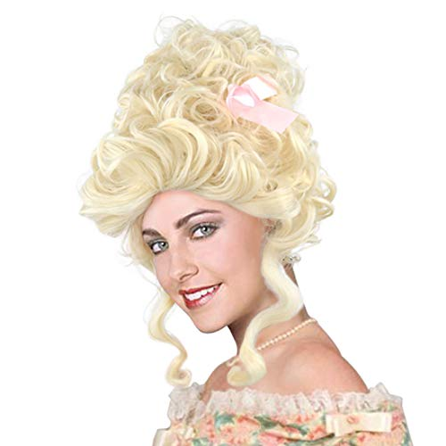 Baroque Ladies Blonde Curly Wig 18th Century French Queen Marie Antoinette Bouffant Hairstyle Rococo Wig (Blonde)]()