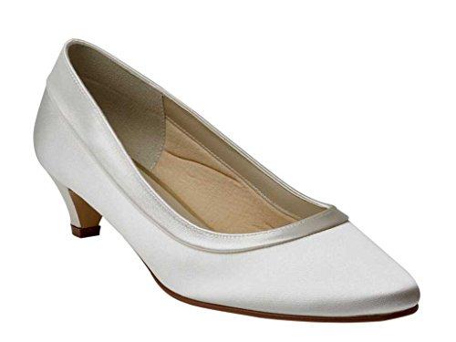 Rainbow Club Bea - Ivory Satin Kitten Heel Bridal Court Shoes GxAeDPjH9